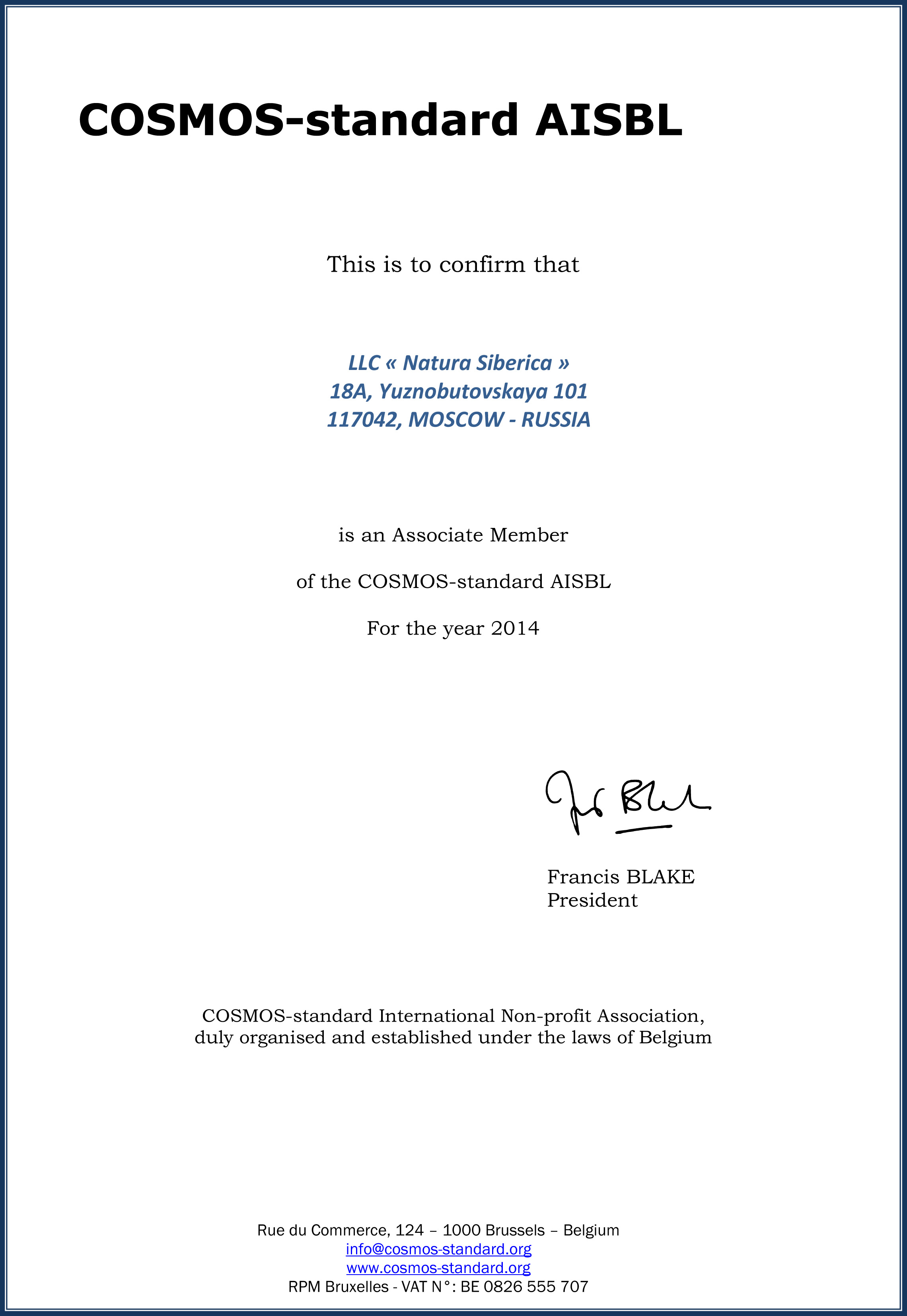 Membership Certificate-LLC Natura Siberica_2014